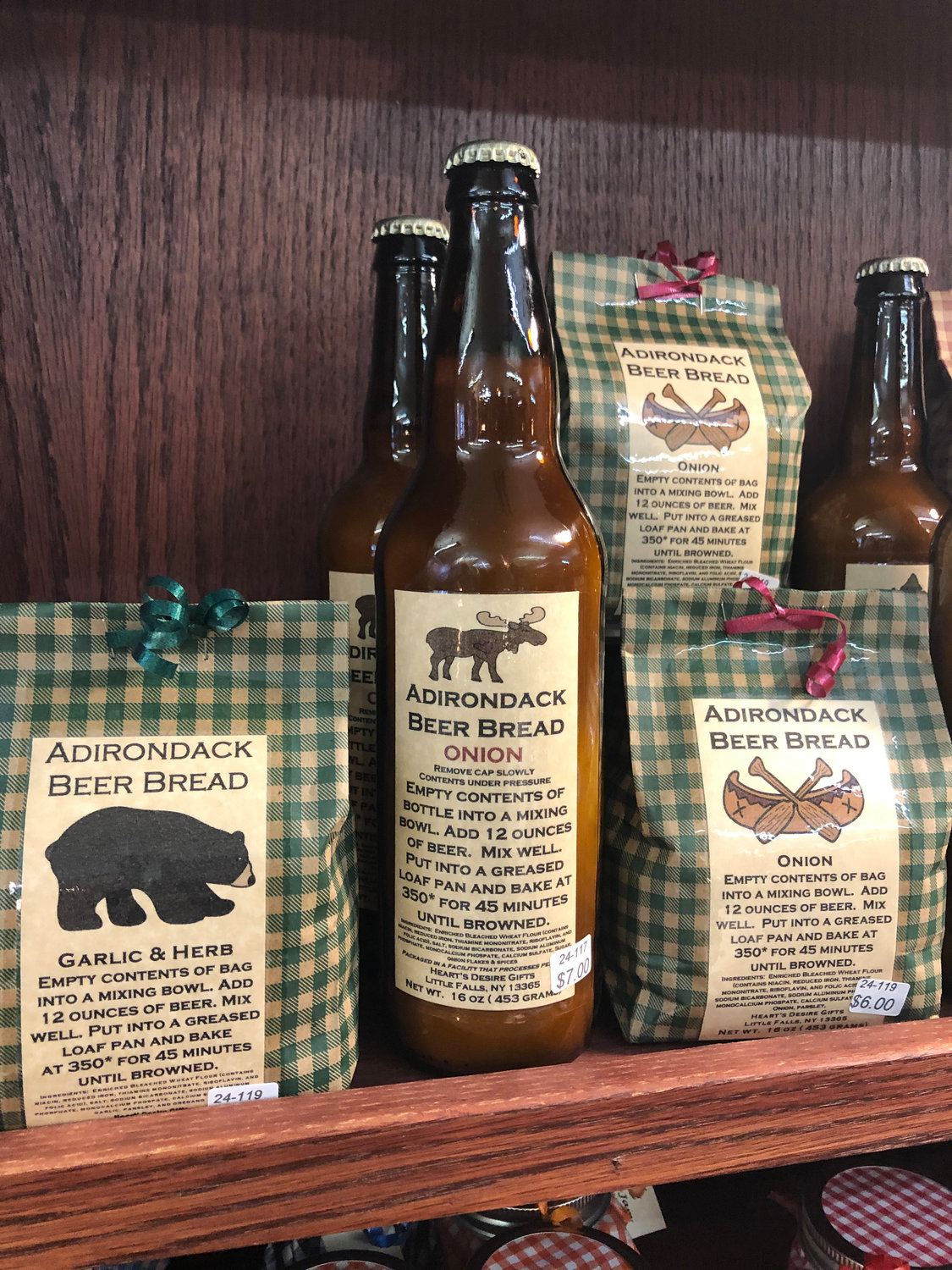 FUN STUFF — Artist Peggy Hadcock, of Little Falls, makes bread mix that comes in beer bottles. You can find her work featured at the Artisans' Corner in Clinton.