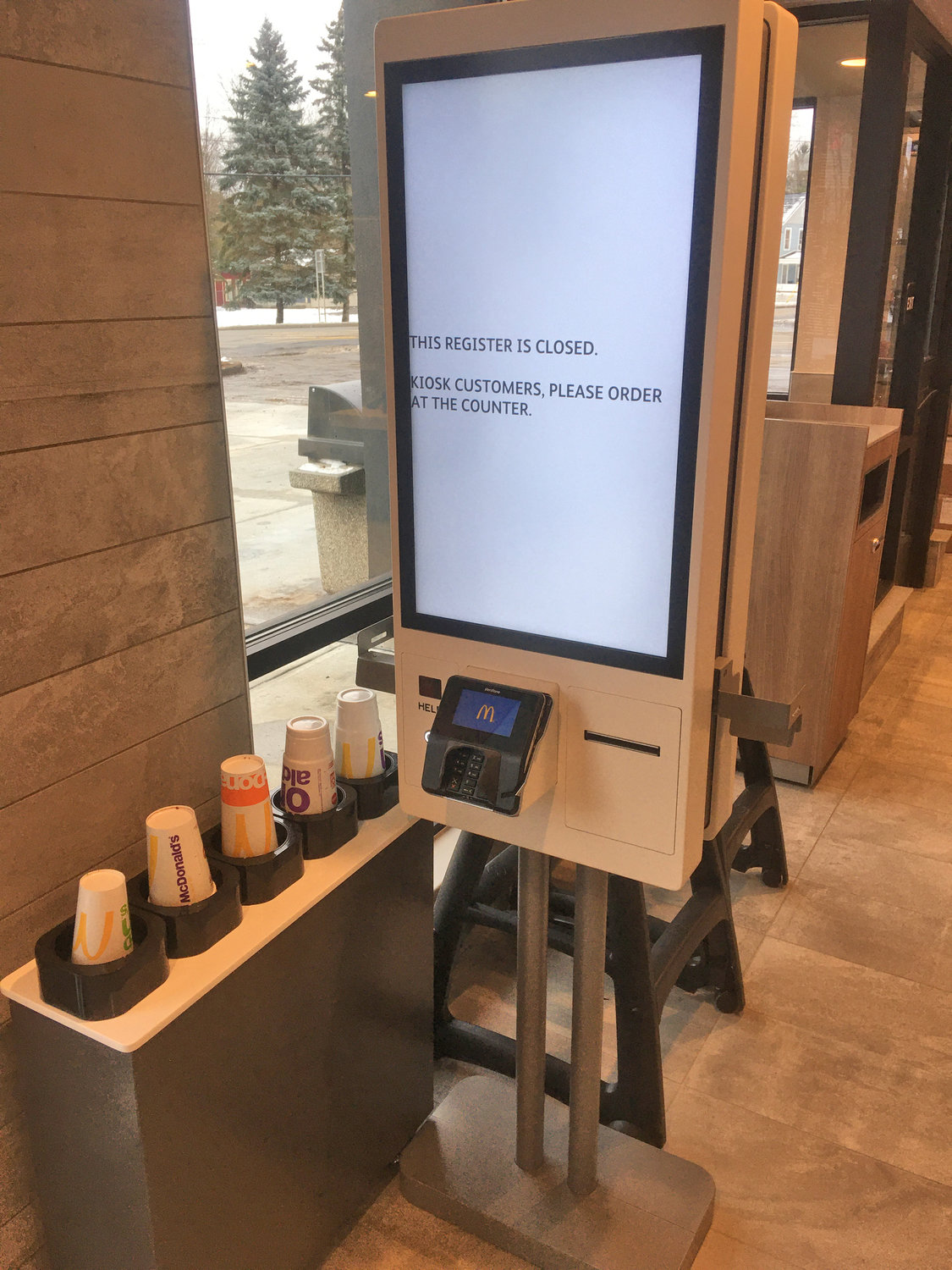 McKIOSK— Now you can order your own food at the golden arches with this new touchscreen kiosk. Just order with the picture menu, pay with the credit card keypad and your order goes right to the kitchen. Come back McSoon.