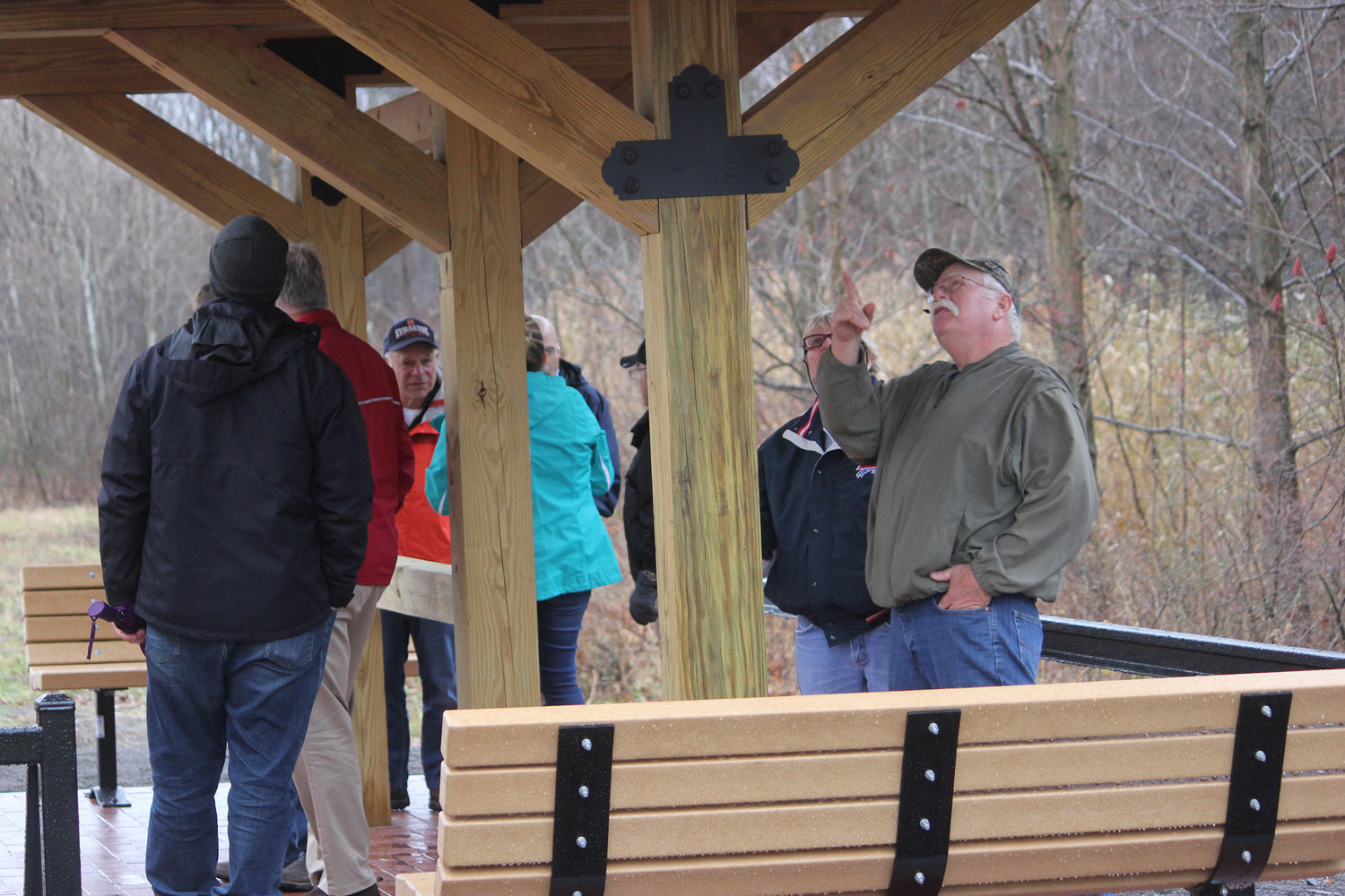 ALONG THE TRAIL — Local officials take a tour of the Lenox Rail Trail after the ribbon cutting ceremony on Thursday, Nov. 22.