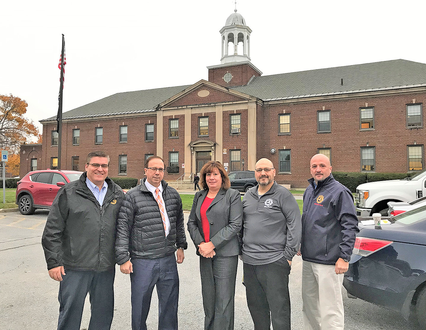 PRISON TOURS — State Senator Joseph Griffo and State Assemblywoman Marianne Buttenschon recently roured Mid-State Correctional Facility in Marcy, pictured here, as well as Mohawk Correctional Facility in Rome. From left: Scott Carpenter, regional vice president of the New York State Correctional Officers & Police Benevolent Association; Griffo; Buttenschon; Mike Marrow, NYSCOPBA staffing coordinator; and Jason Combs, NYSCOPBA business agent.