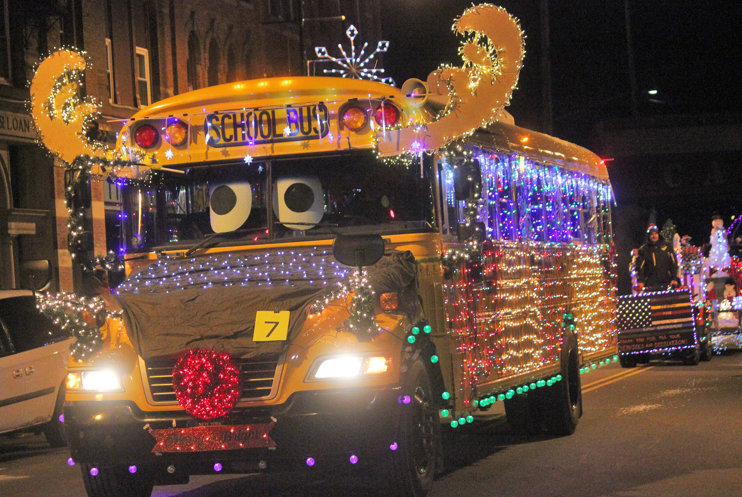 FESTIVE DECORATIONS — Canastota school bus 1225 gets all dressed up for the second annual Canastota Parade of Lights on Saturday, Nov. 30.