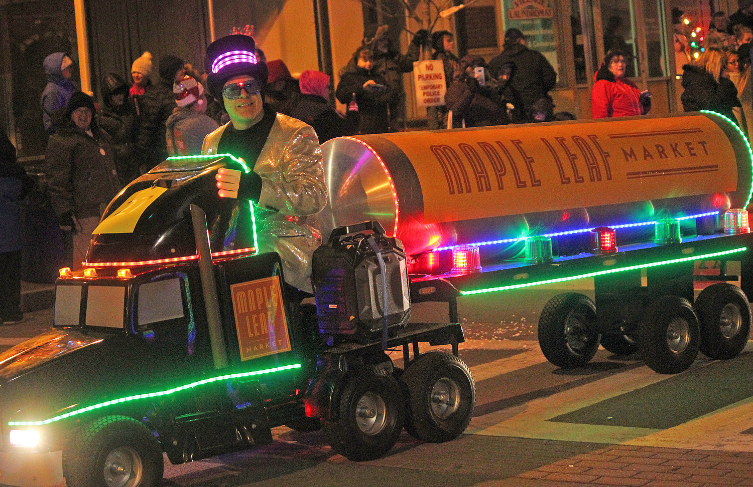 FESTIVE TRUCK — Towns, villages and organizations from all over join in to welcome the season of giving for the second annual Canastota Parade of Lights on Saturday, Nov. 30.