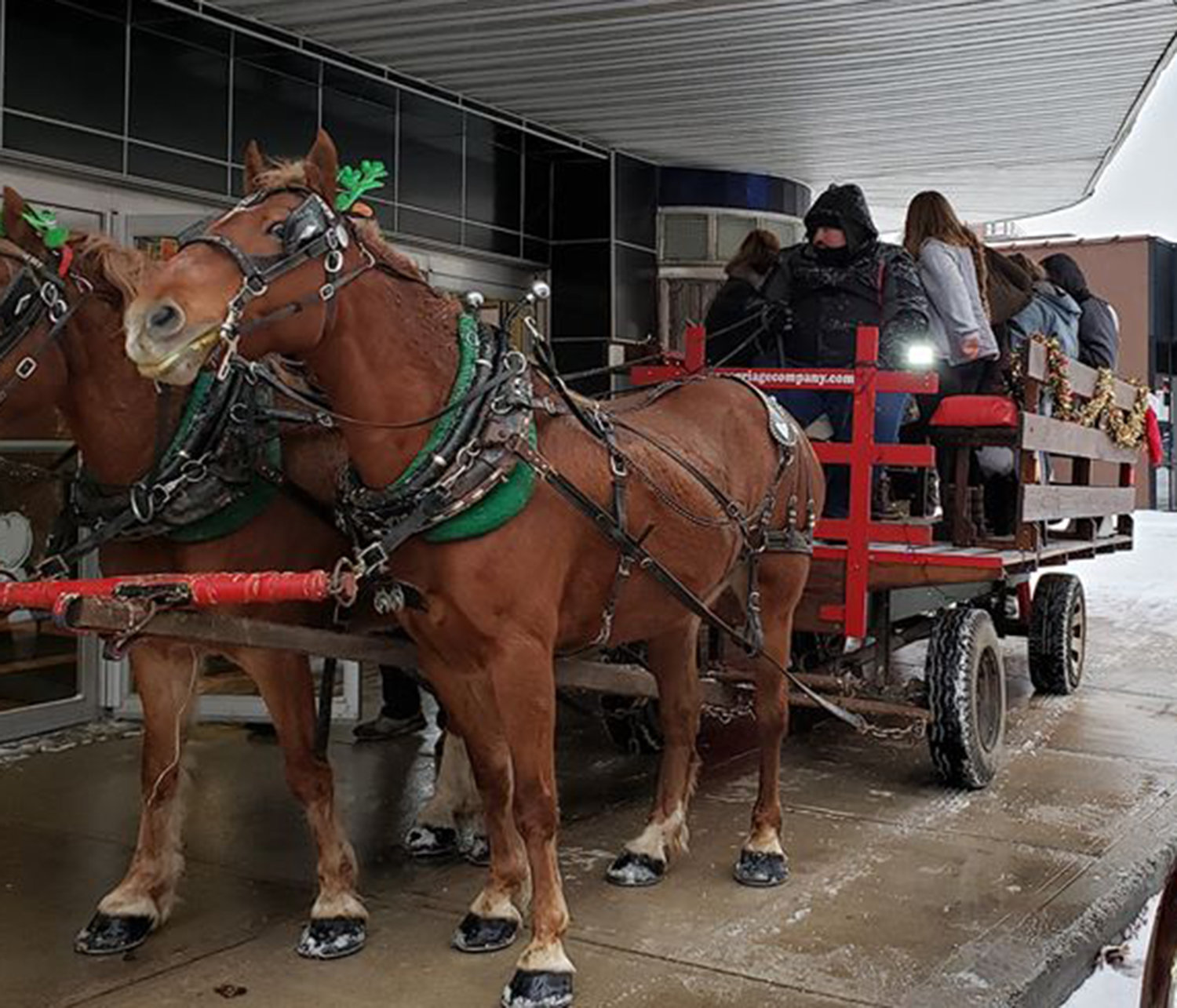 GIDDYUP — A horse drawn carriage picks up local residents at the Kallet Civic Center for the Oneida Christmas Story Downtown Stroll on Sunday, Dec. 1.