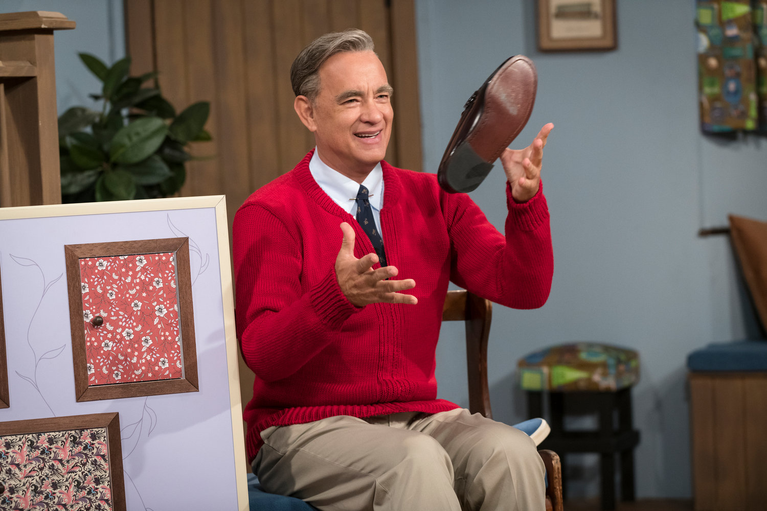 "TRANSFORMATION — Tom Hanks as Mister Rogers in a scene from ""A Beautiful Day In the Neighborhood,"" in theaters now."
