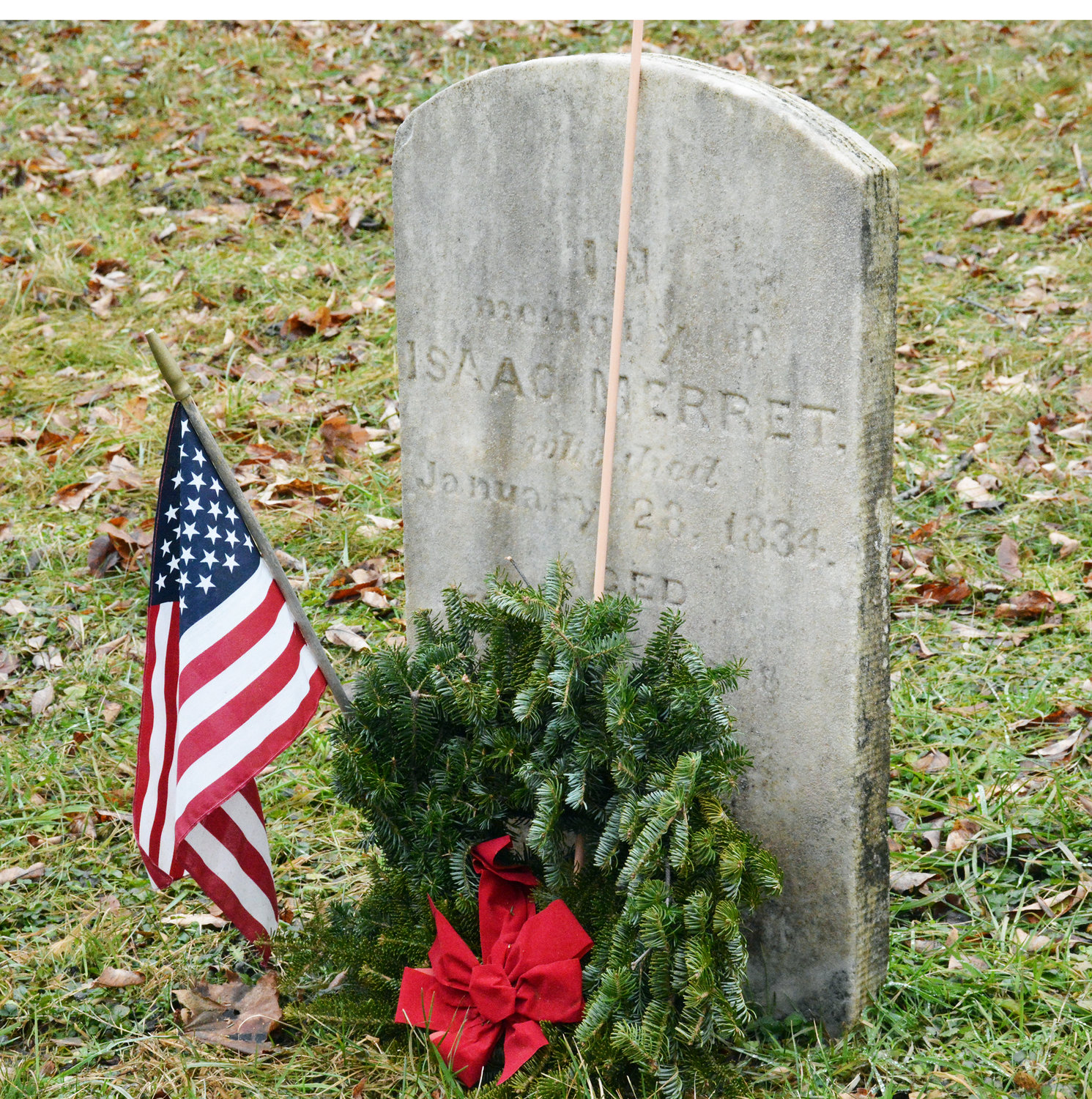 NEVER FORGET — Civil War veteran Isaac Merret is honored with a wreath to commemorate his service to his country during the Nationwide Wreaths Across America campaign on Saturday, Dec. 14 at the Old Burial Ground in the Village of Clinton.