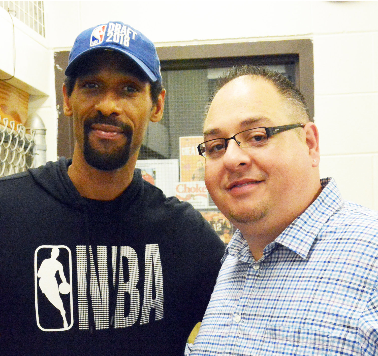 "KEEPING KIDS SAFE — Lawrence Moten and Nate Pena paid a visit to Westmoreland High School on Friday, Dec. 13 as representitives of ""Pass 'Da R.O.C.K."" a Syracuse non-profit agency that tries to steer inner-city youth away from desperationtowards hope for a better life."
