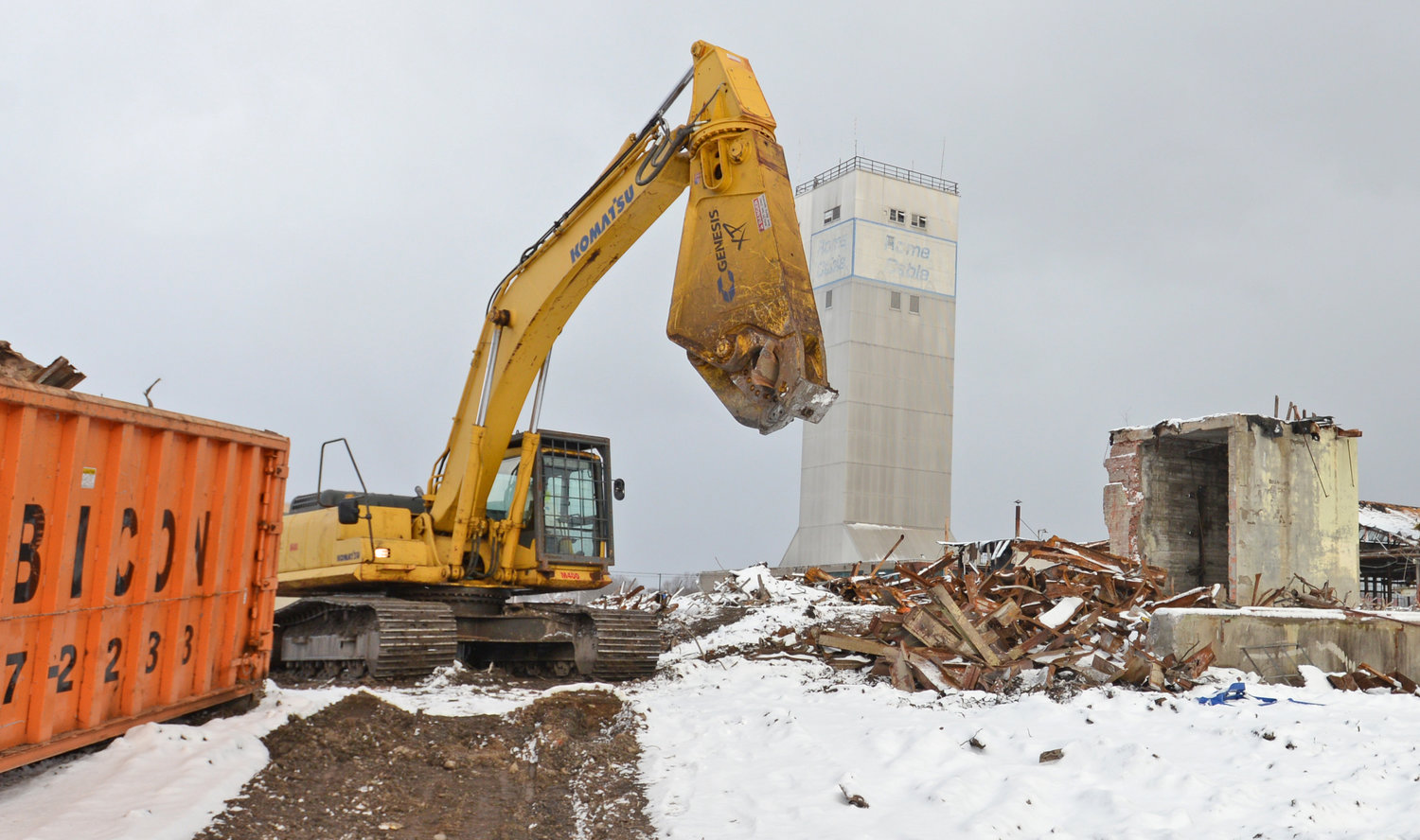 PREPARING FOR THE FUTURE — An excavator picking through metal at the former Rome Cable site on Jan. 8, 2020. The site is being cleared and cleaned for redevelopment.