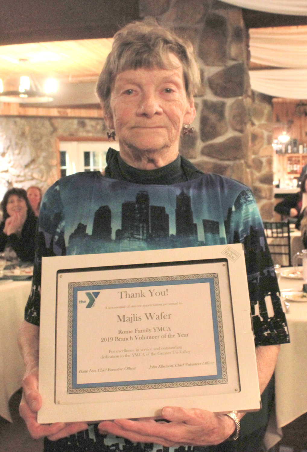 ROME VOLUNTEER — Majlis Wafer was awarded the Rome Volunteer of the Year at the annual YMCA 2020 Recognition Program on Wednesday.