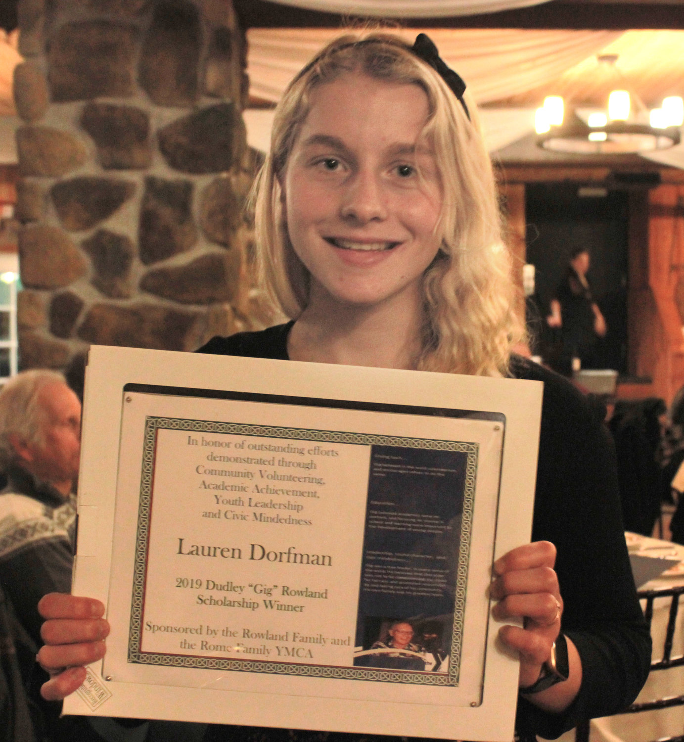 "SCHOLARSHIP — Lauren Dorfman was one of two Rome Free Academy Students awarded the Dudley ""Gig"" Rowland Scholarship at the annual YMCA 2020 Recognition Program on Wednesday."