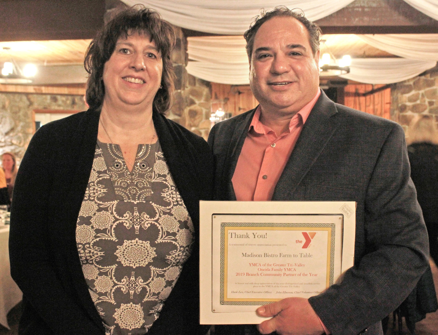 ONEIDA PARTNER — Madison Bistro was warded the Oneida Community Partner of the Year at the annual YMCA 2020 Recognition Program on Wednesday.