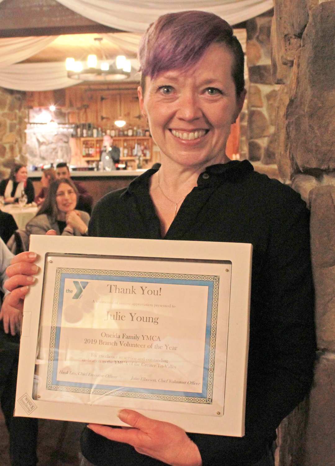 ONEIDA VOLUNTEER — Julie Young was awarded the Oneida Volunteer of the Year at the annual YMCA 2020 Recognition Program on Wednesday.