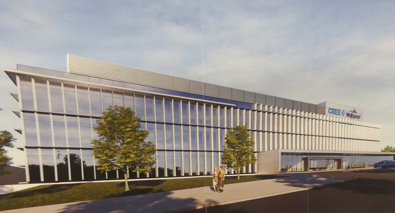 COMING TO MARCY — A rendering of the administrative building for the Cree Inc. nano fabrication facility soon to be under construction in Marcy. The image was on display during a public meeting outlining plans for construction and operation of the $1 billion semiconductor factory scheduled to open in early 2022. (Artist rendering submitted)
