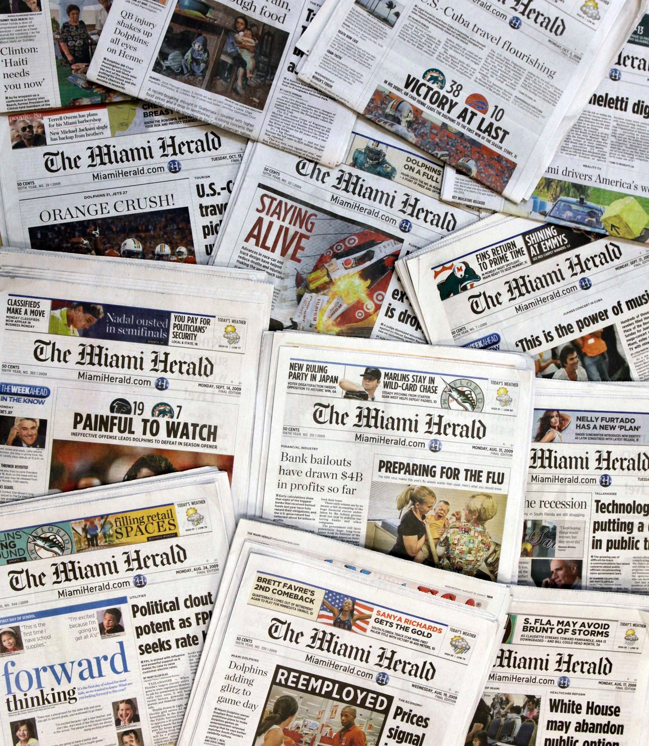 SEEKING PROTECTION — Copies of the McClatchy Co. owned Miami Herald newspaper in Miami. McClatchy Co., the publisher of the Miami Herald, The Kansas City Star and dozens of other newspapers across the country is filing for bankruptcy protection.