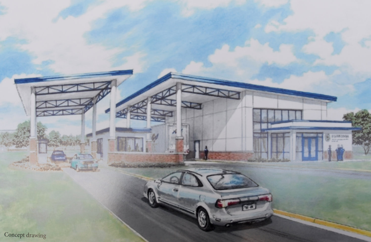 SECURITY SYSTEM VISITOR CENTER — This concept drawing shows a visitor control center that will be part of a new perimeter security system at the Air Force's Rome Lab. A groundbreaking ceremony for the $13.15 million project was held Wednesday. (Artist rendering submitted)
