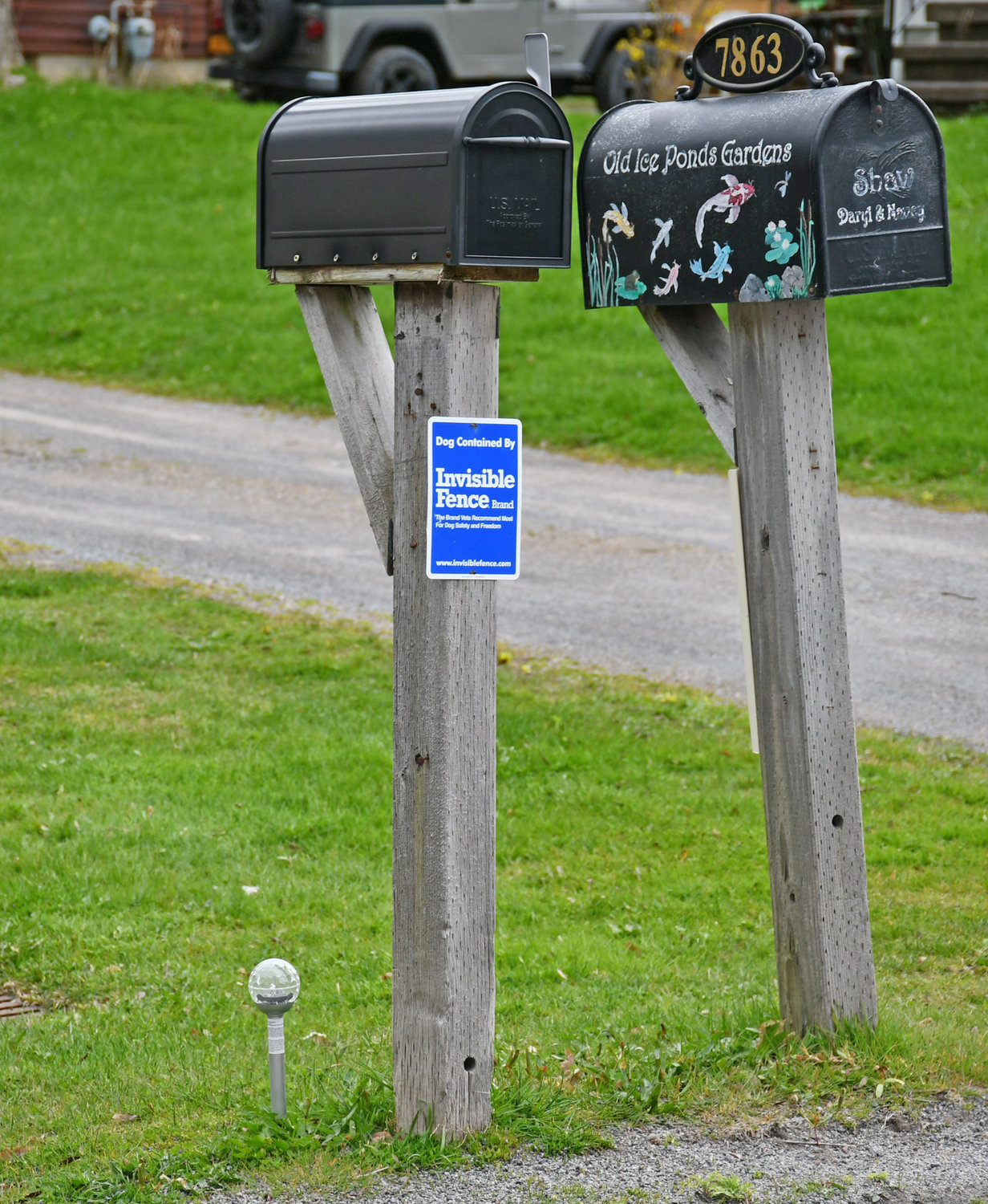 RECOGNITION — Just one of 57 solar lights placed next to a mailbox on Brimfield Street in Clinton to pay tribute to all the essential workers who travel this stretch of road to work each and everyday during the pandemic.