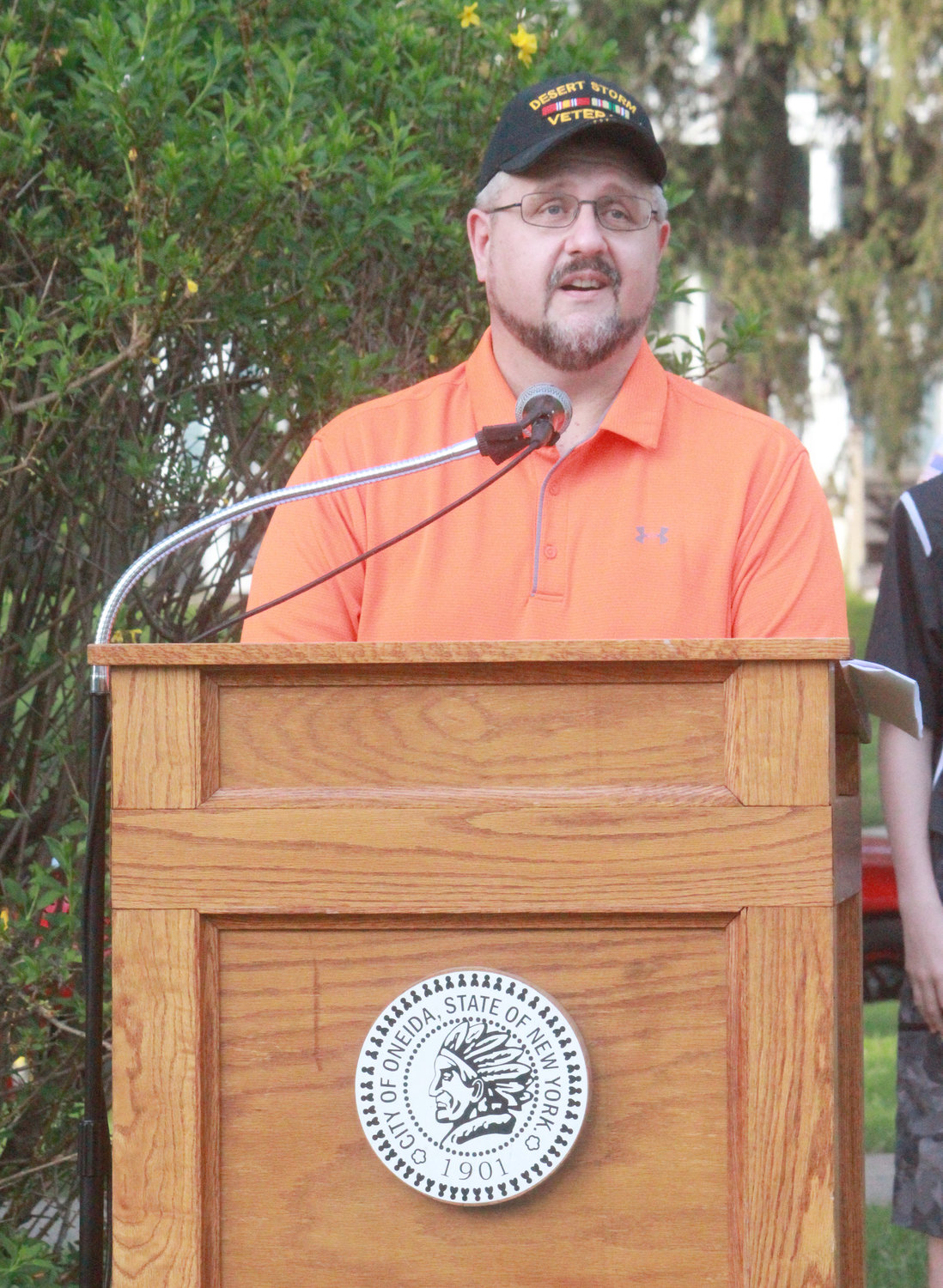 Nicholas Fedchenko speaks at the Oneida Memorial Association Memorial Day observance event at Triangle Park on Friday.