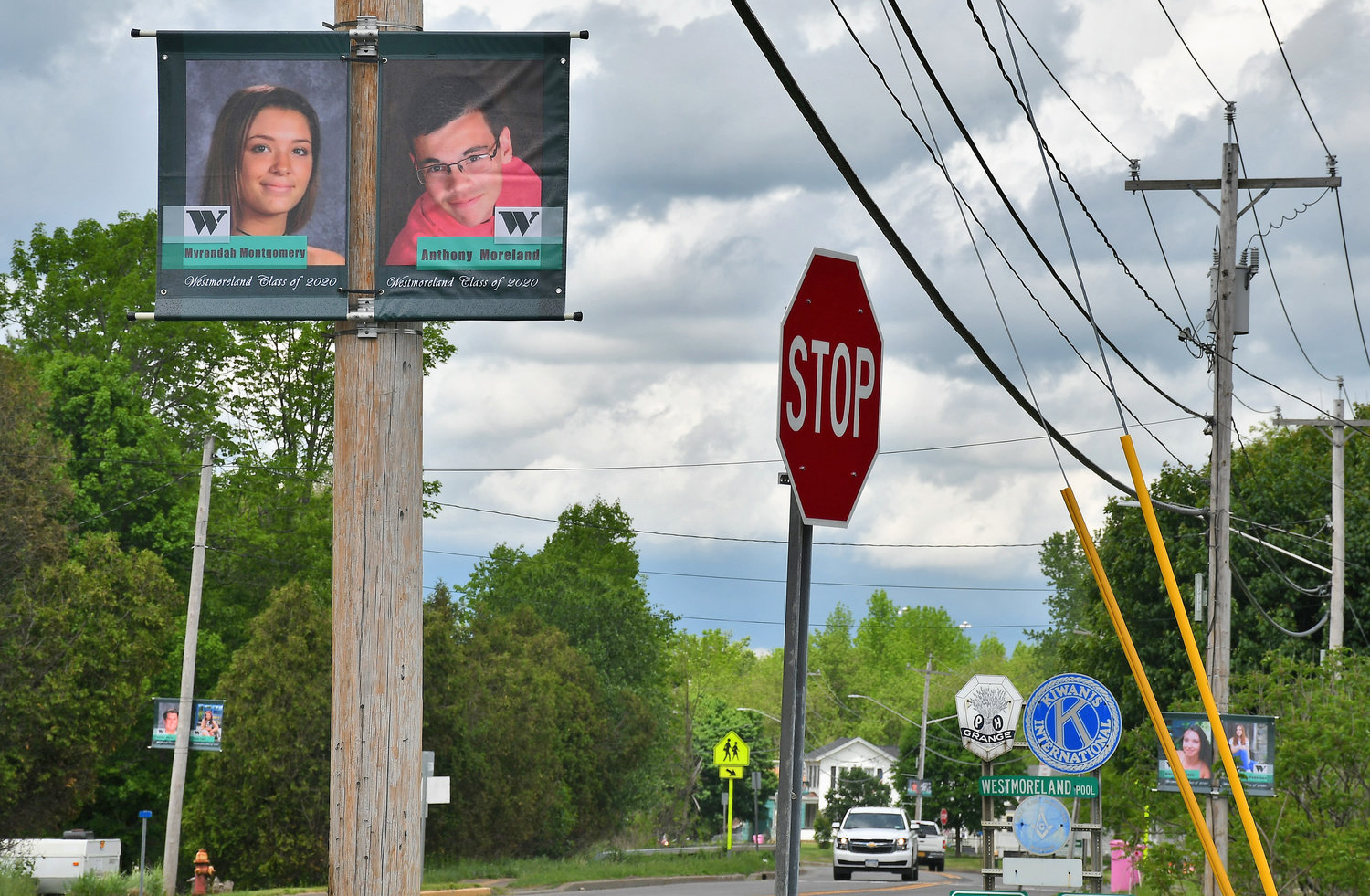 SENIOR STREET — The Westmoreland Jr. Sr. High School graduating class of 2020 has been honored with pictorial banners presently displayed along Route 233 in Westmoreland. In all, 60 banners, 59 seniors and one class banner were hung by the Westmoreland DPW for the school.