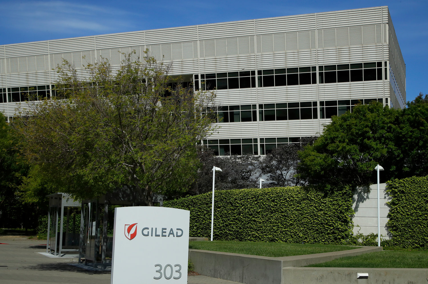 PRICE SET — This April 2020, file photo shows Gilead Sciences headquarters in Foster City, Calif. The maker of a drug shown to shorten recovery time for severely ill COVID-19 patients says it will charge $2,340 for a typical treatment course for people covered by government health programs in the United States and other developed countries. (AP Photo)