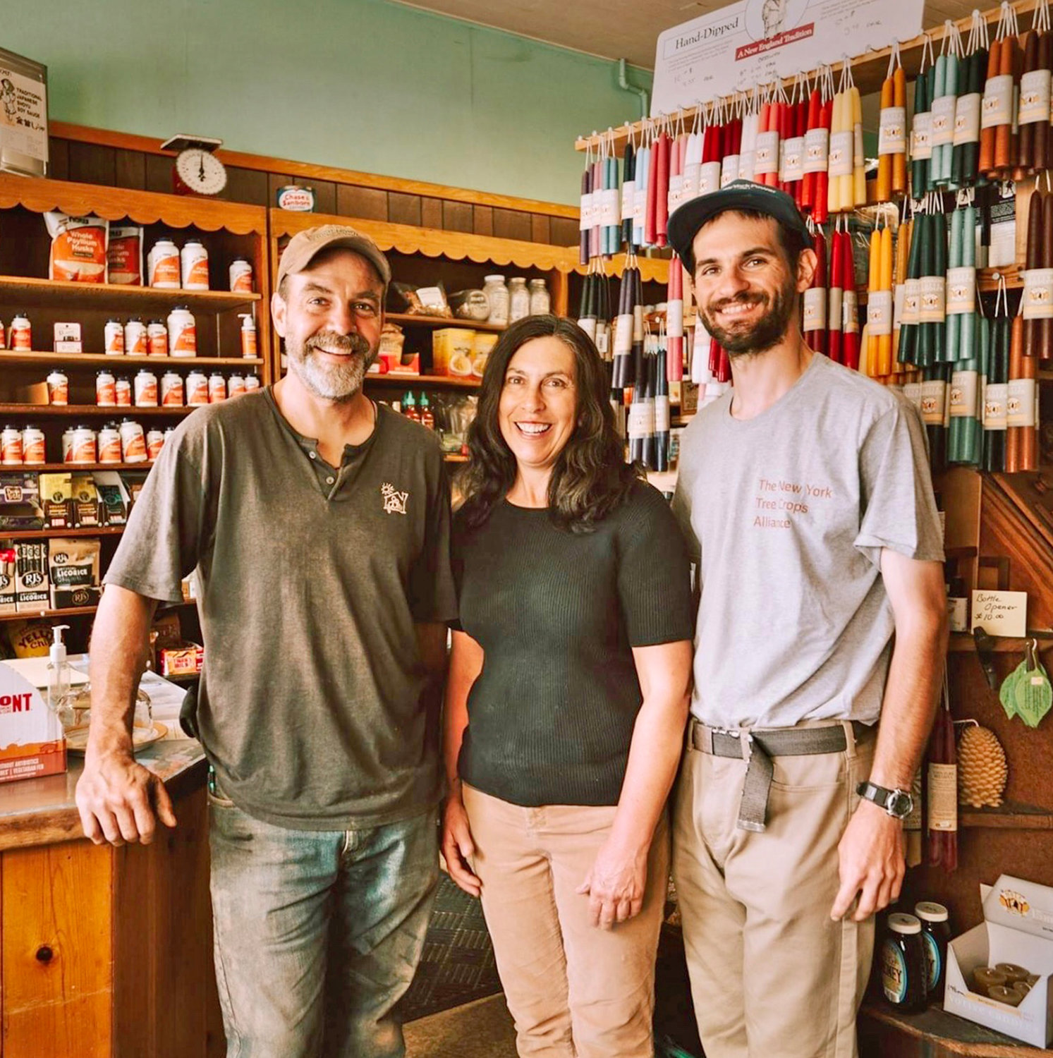 HELLO CLINTON — The new owners of Tom's Natural Food welcome new customers as well as previous friends to a second generation of what Tom Bell and Bonnie Wood offrred the Clinton community for 48 years. Pictured left to right: Jason Townsend, Nancy Morelle and Andrew Sblendorio.