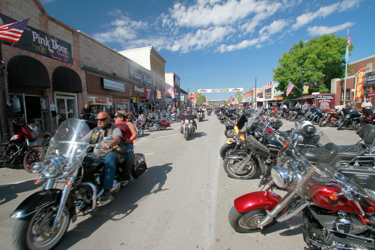 ROAD RALLY — Thousands of bikers rode through the streets for the opening day of the 80th annual Sturgis Motorcycle rally Friday in Sturgis, S.D. Some experts fear the large number of visitors may worsen the coronavirus in that state.