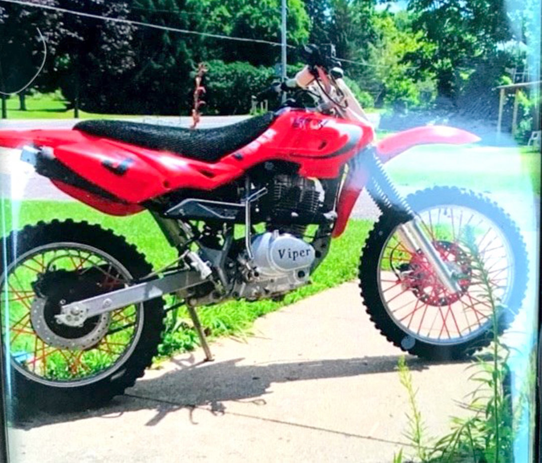 STOLEN DIRTBIKE — This red dirt bike was stolen from a residence on Route 8 in Bridgewater sometime between Aug. 10 and 11. Anyone with information on the bike is asked to call state police at 315-366-6000.