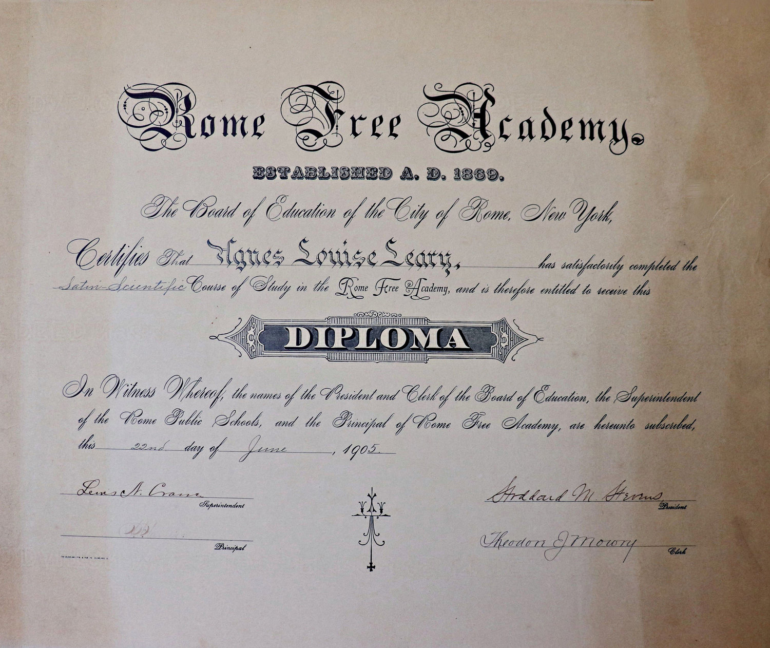 Pictured is Agnes Leary's diploma from Rome Free Academy. This, along with other items were found in the attic of a local residence and returned to Leary's descendants.