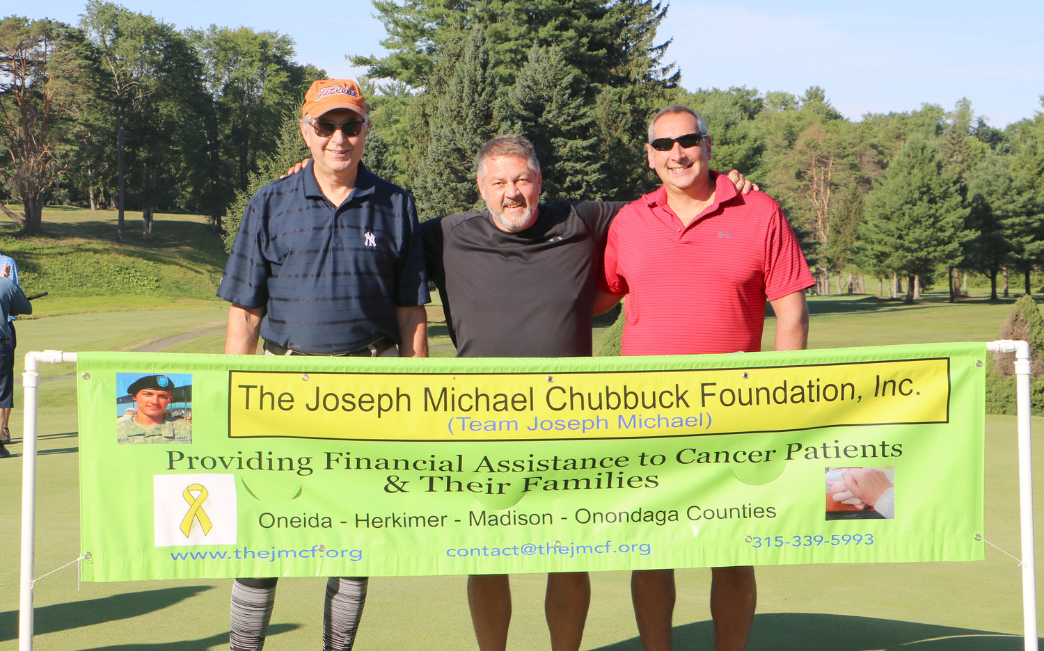 FUNDS FOR CANCER — The Joseph Michael Chubbuck Foundation, Inc., recently raised $10,000 to assist local cancer patients in need.  Winning the tournament was the team, The Bushwhackers, from left: Dave Olney, Bill Baskiewich and Aaron Bouton.