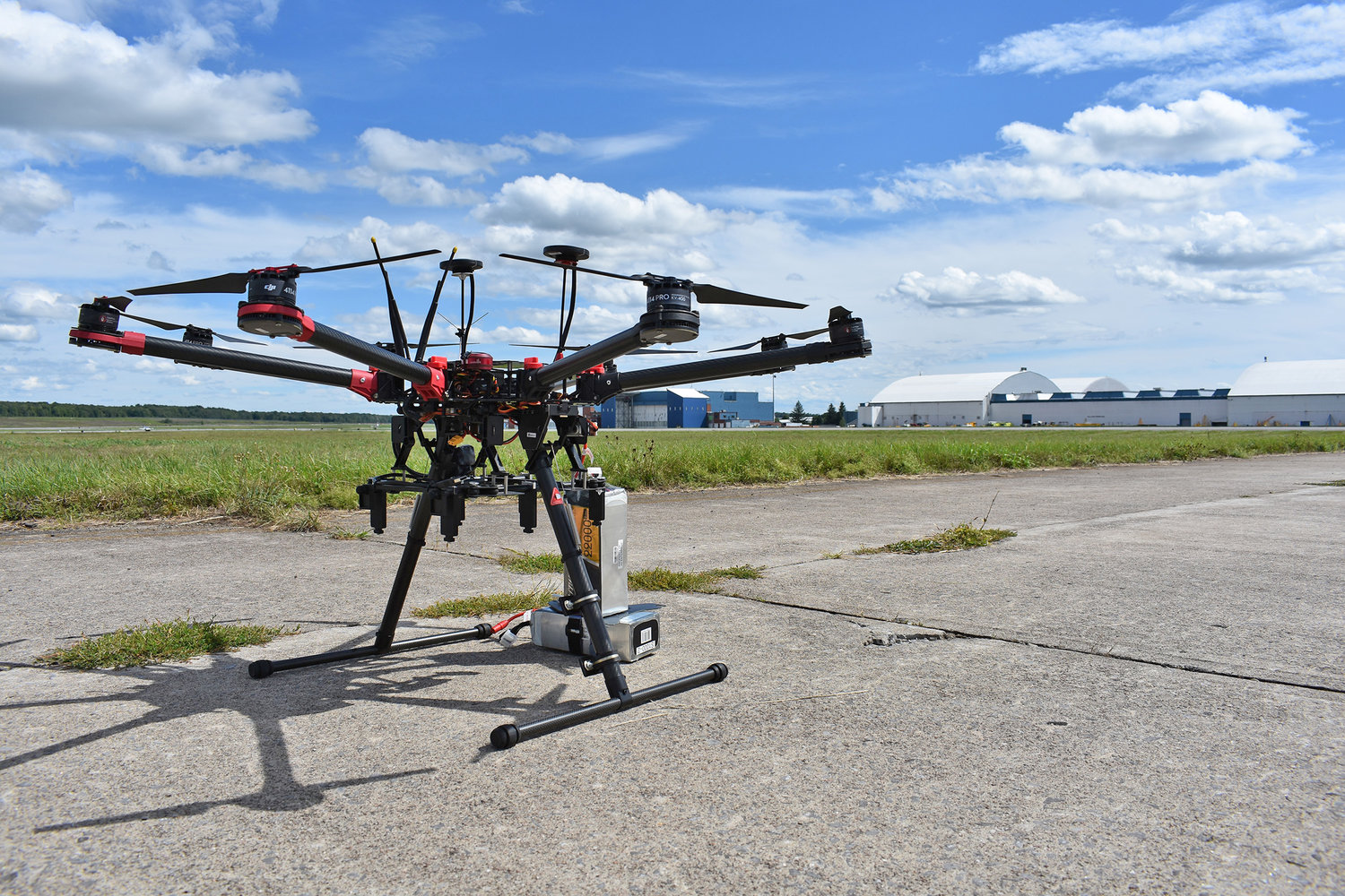 ON THE FOREFRONT — A drone sits on the runway at the Griffiss Business and Technology Park in this file photo. Live flights are set to begin this month at the Griffiss test site, one of two sites selected nationally, in the second phase of a federal program to develop a high-density air traffic control system for drones.