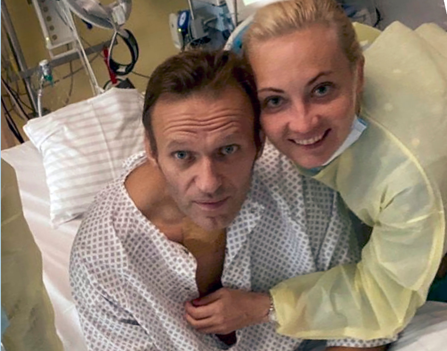 OPPOSITION LEADER — This handout photo published by Russian opposition leader Alexei Navalny on his Instagram account shows himself and his wife Yulia, posing for a photo in a hospital in Berlin, Germany.