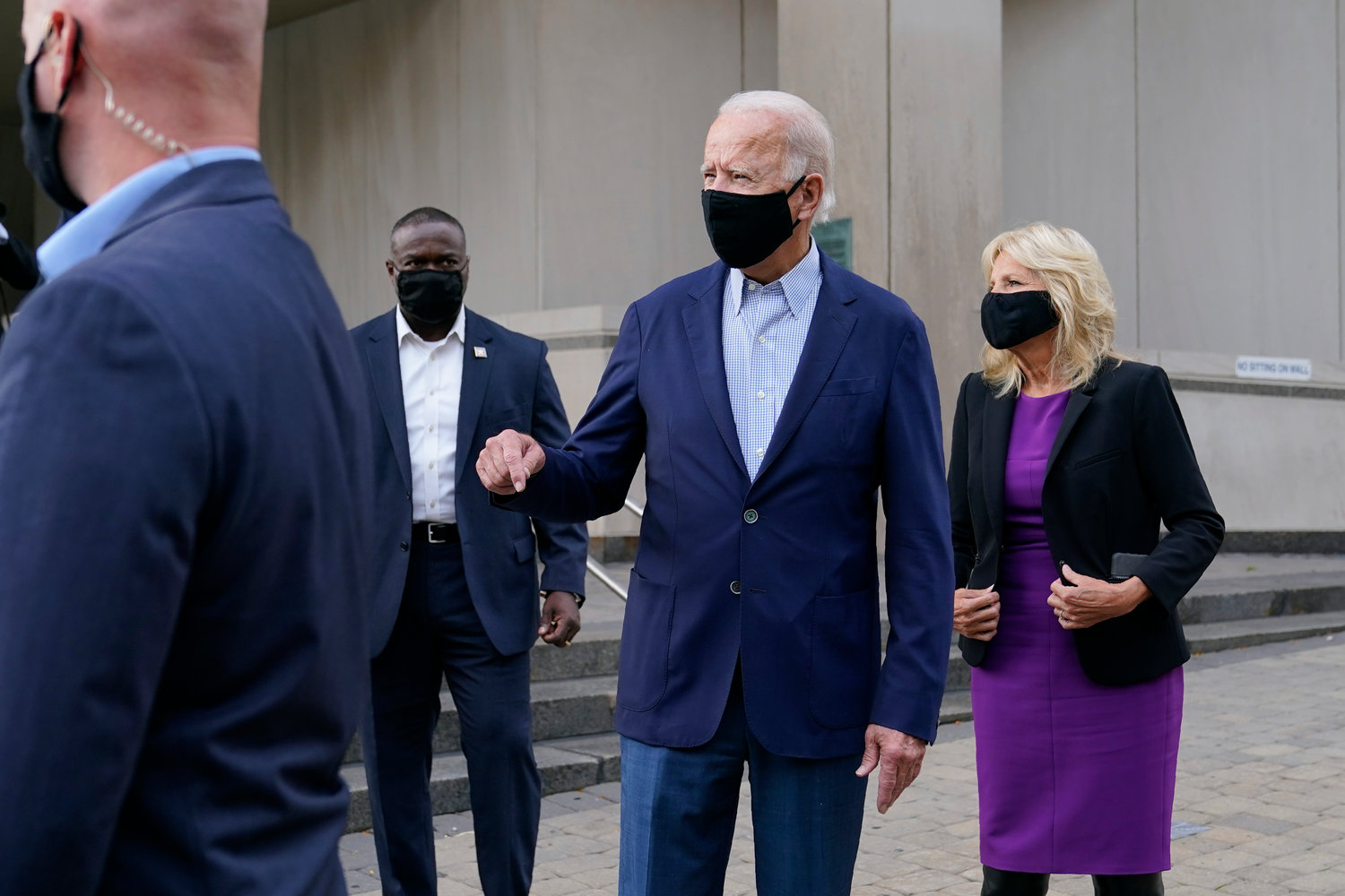 HEADING SOUTH — Democratic presidential candidate and former Vice President Joe Biden speaks with reporters as he and his wife Jill Biden depart after voting early in Delaware's state primary election at the New Castle County Board of Elections office in Wilmington, Del., Monday.