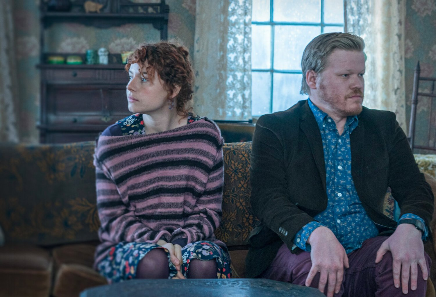 "Jessie Buckley and Jesse Plemons in ""I'm Thinking of Ending Things"" currently on Netflix."