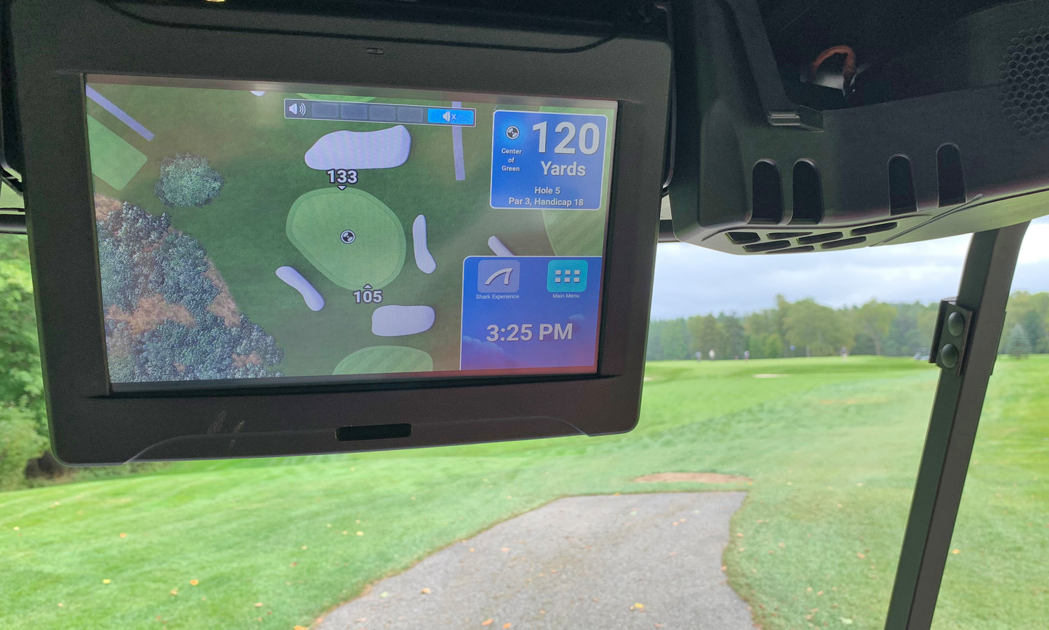 YARDAGE GPS — The golf carts at Thendara Golf Club are equipped with a GPS system that allows you to track your yardage to the center of the green from wherever you are on the course.