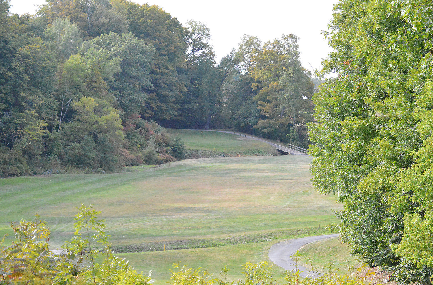 SIGNATURE HOLE — A  shot looking down the fourth fairway at MV Golf and Event Center. The fourth hole is regarded as a signature hole because of the tee shot the player needs to hit in order to leave themselves with a good second shot to get on the green.