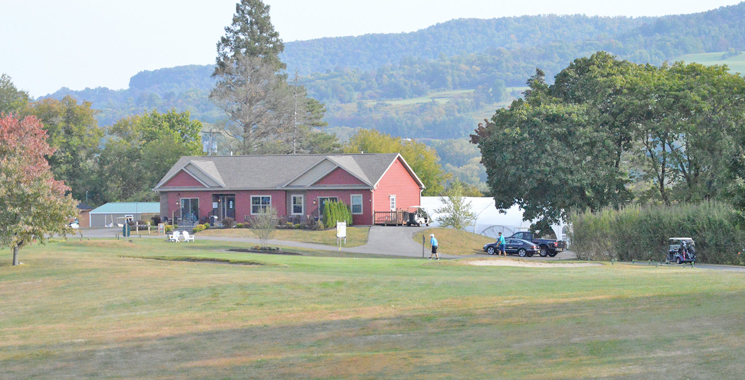 SCENIC VIEW — The ninth green sits in front of the MV Golf and Event Center clubhouse on Thursday afternoon. The golf course features lots of scenic views from a number of its tees.