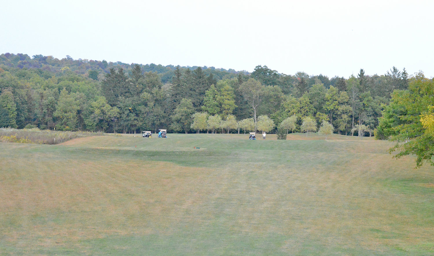 SPREAD ACROSS THE FAIRWAY — Carts line the 17th fairway at MV Golf and Event Center on Thursday afternoon. This hole is the third and final par 5 of the course.