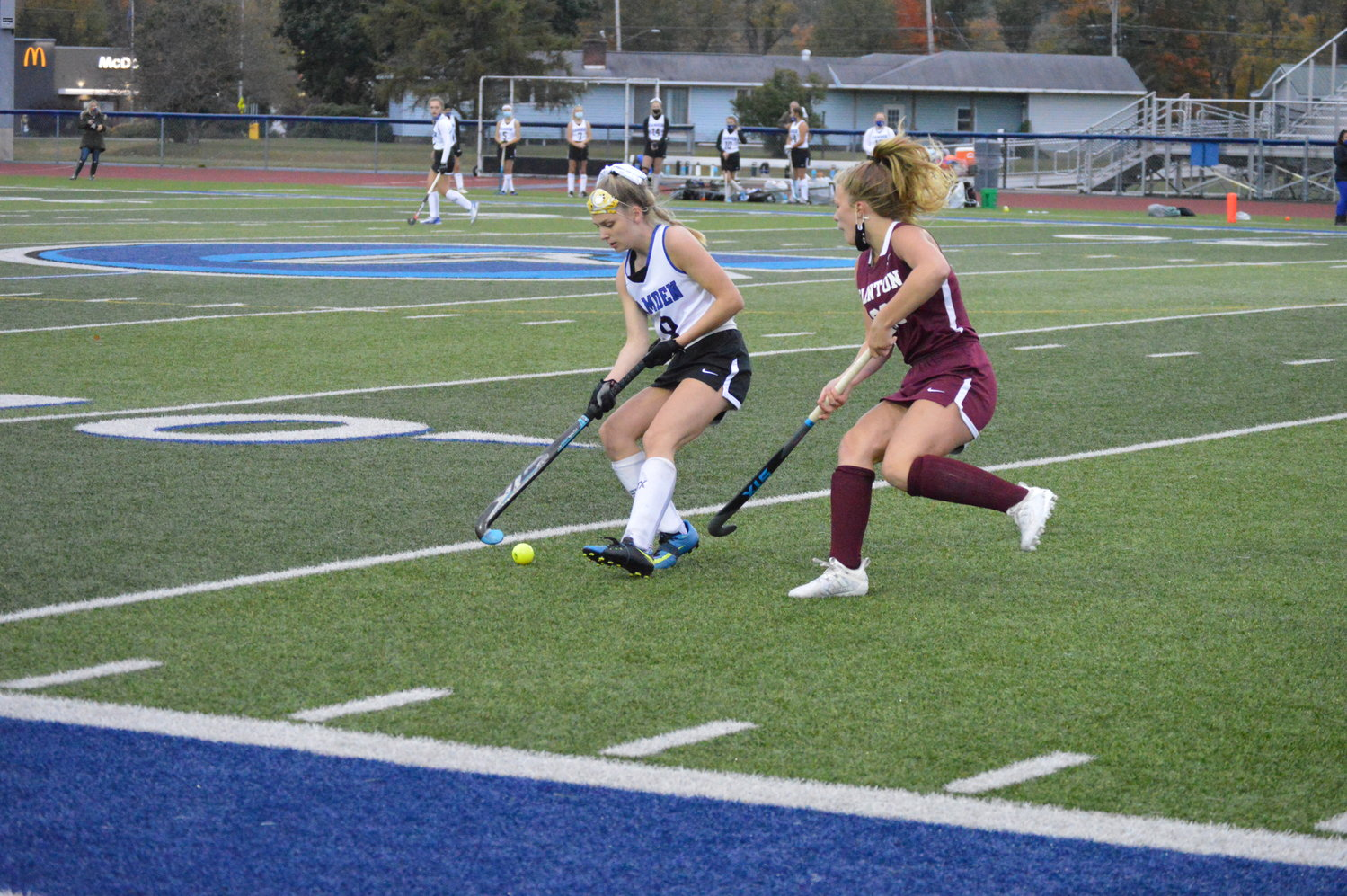 MAKING A MOVE — Camden's Emily Walker, left, makes a move against Clinton's Finley Davignon during the season-opener on Monday, Oct. 5 in Camden. Clinton scored less than 15 seconds into the game, which proved to be the difference as the Warriors defeated the Blue Devils, 1-0.
