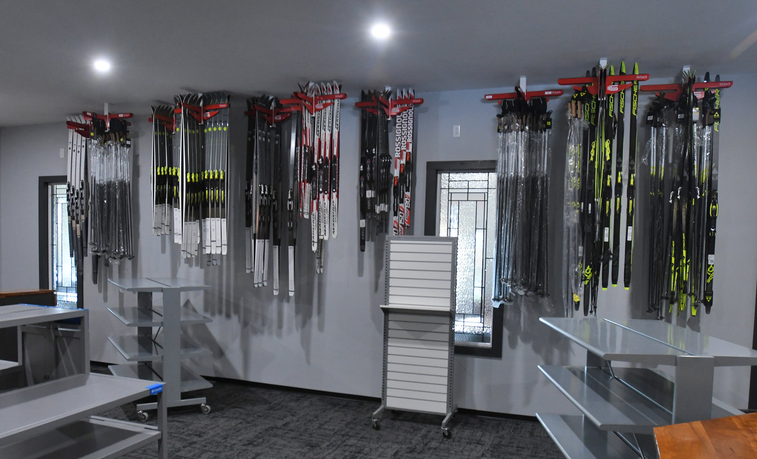 EQUIPMENT AVAILABLE — Shown above is a stock of skis to rent and purchase at the Osceola Ski and Sport Resort.