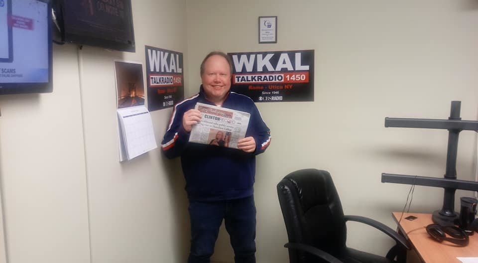Promoting the blockbuster sized Thanksgiving issue of the Clinton Record on WKAL 1450 AM, November 2019.