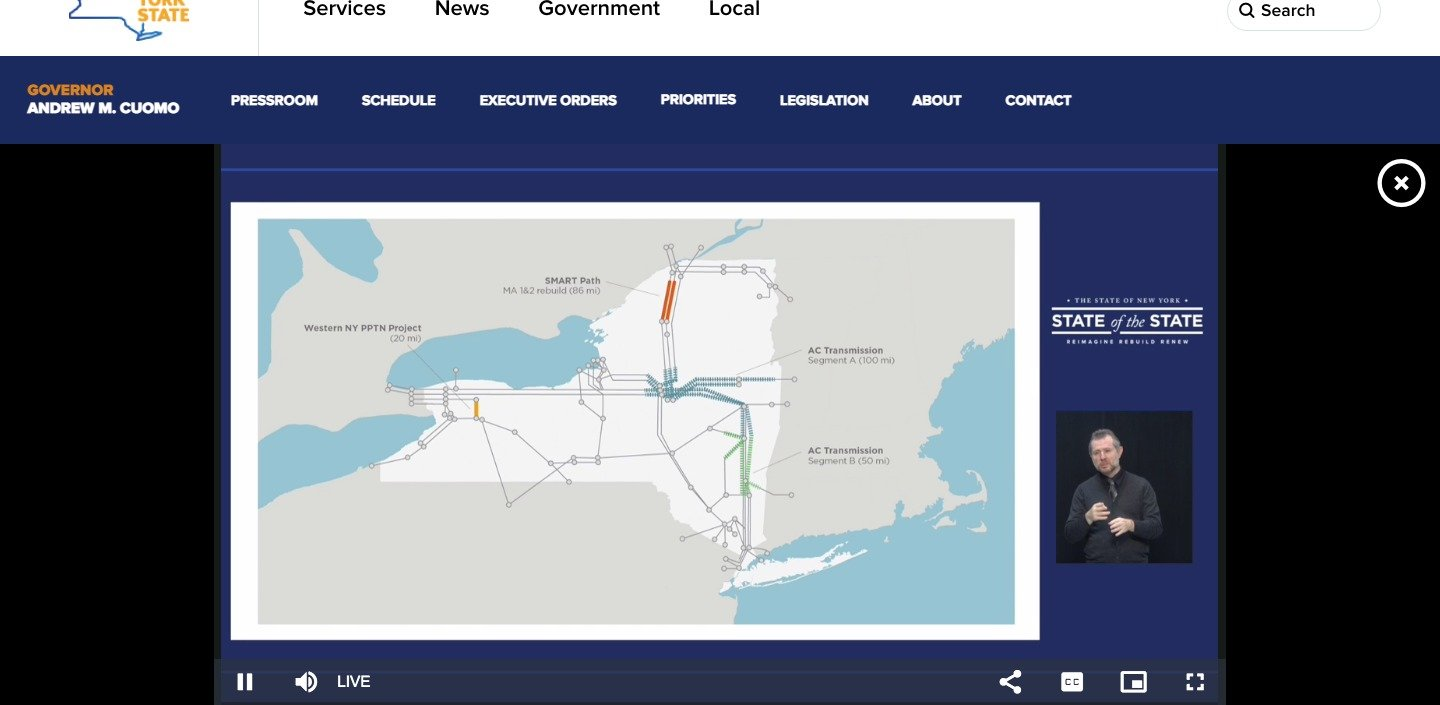 ON THE GRID — A slide shown during Gov. Andrew M. Cuomo's recent State of the State address shows several of New York's electrical transmission systems which traverse the state. The Public Service Commission has authorized an $854 million upgrade of the 93-mile electric power transmission line from Marcy to Albany County.