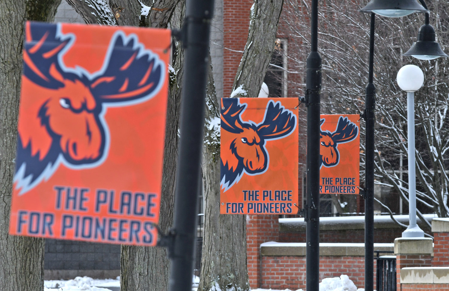 "BANNER DISPLAY — Banners are shown in place at Utica College reflecting UC's nickname of ""Pioneers."""