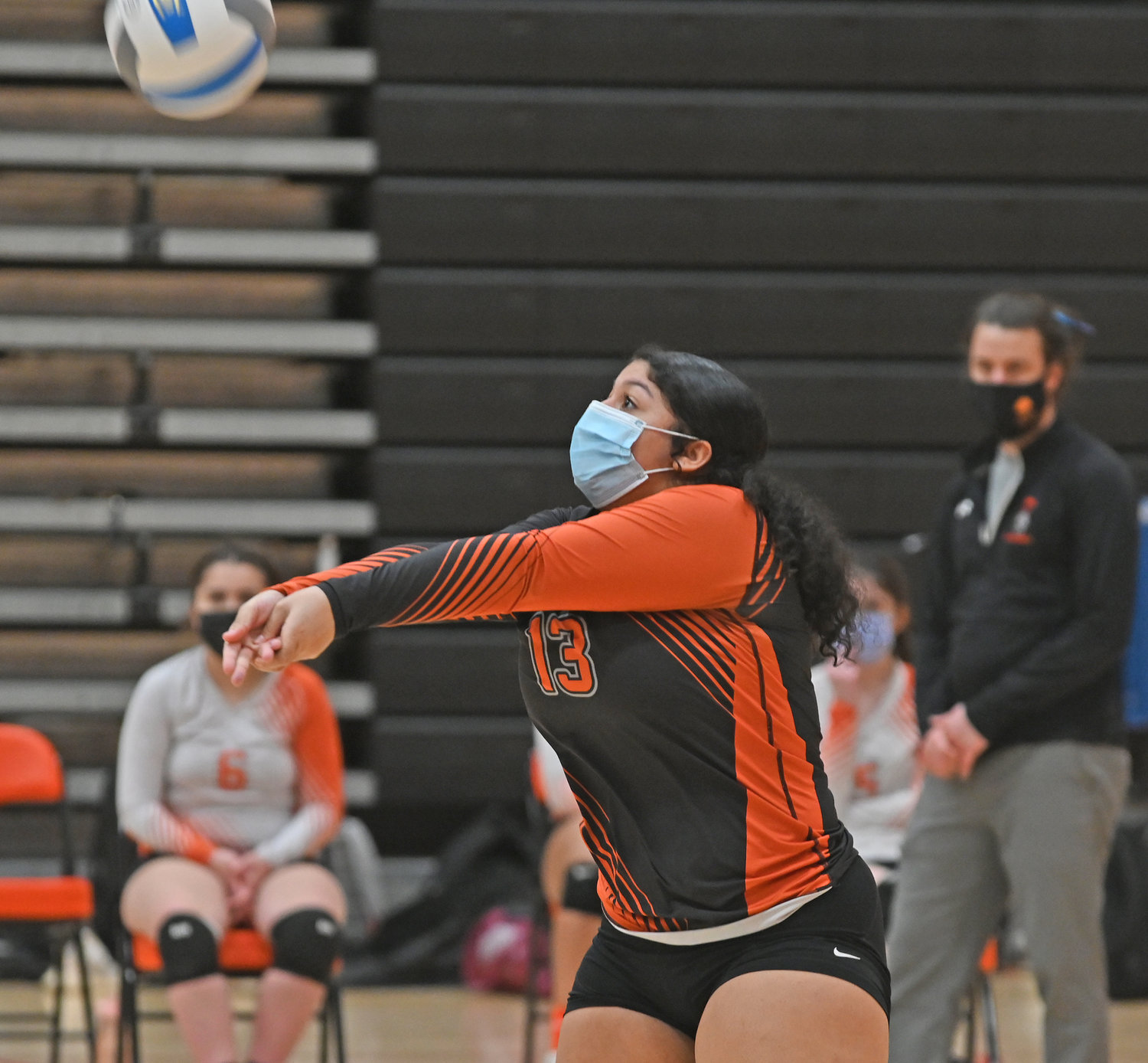 BUMP — Rome Free Academy senior Jamiah Moyer returns the serve during Monday night's Tri-Valley League volleyball match against New Hartford.