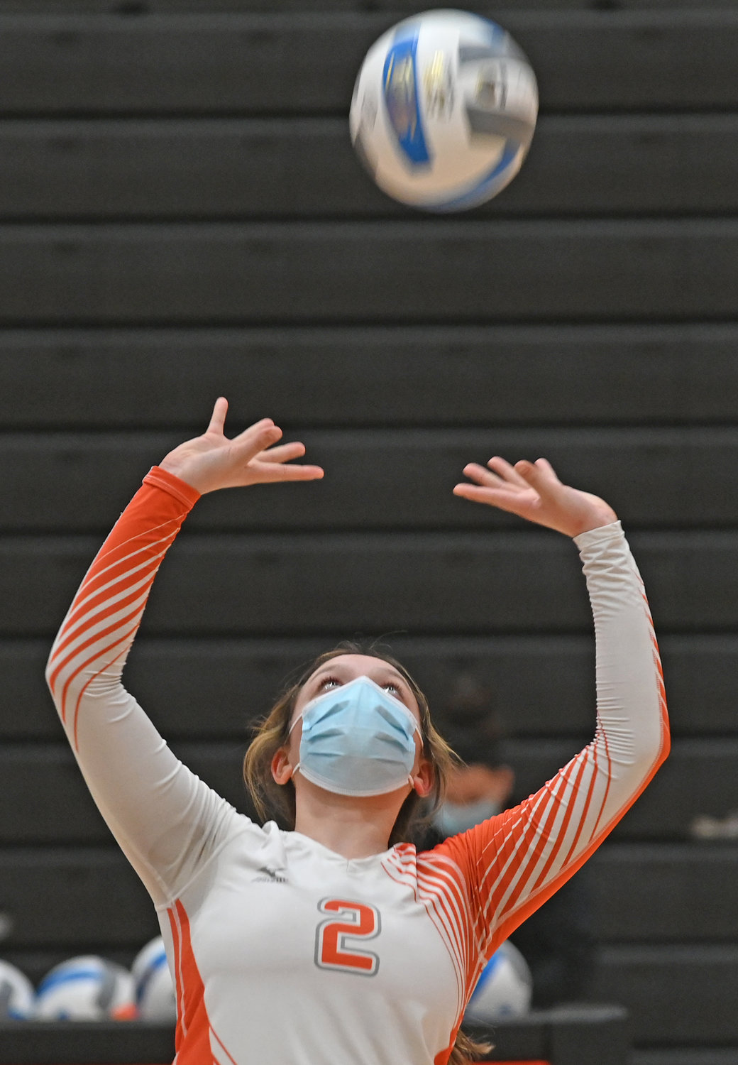 SET — Rome Free Academy sophomore Alyce Frost prepares to set the ball for a kill during Monday night's Tri-Valley League game at RFA. Match details were unavailable as of press time.