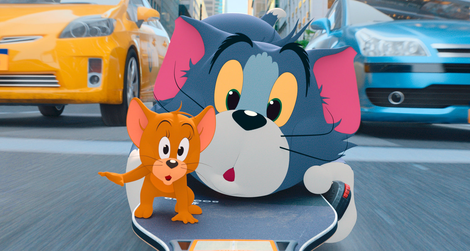 "Cartoon antics — Jerry the mouse, left, and Tom the cat in a scene from the live-action animated film ""Tom & Jerry."""