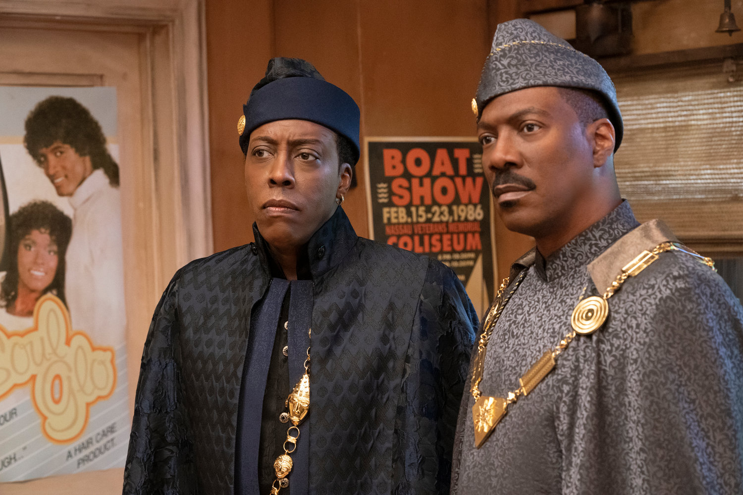 "33 YEARS LATER — Arsenio Hall, left, and Eddie Murphy appear in a scene from ""Coming 2 America."" Thirty-three years after ""Coming to America,"" Murphy and Hall have returned to Zamunda."
