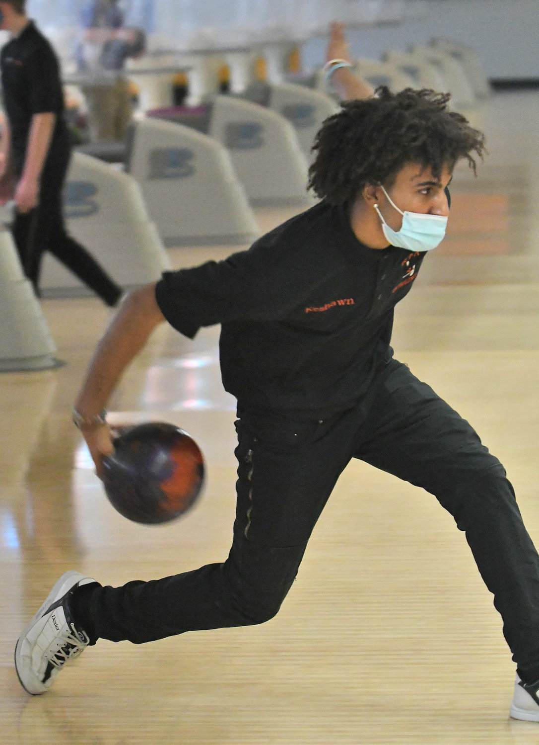 TVL ALL-STAR — RFA senior bowler Keshawn Clark gets set to roll the ball during the team's virtual match against Notre Dame on Feb. 9 at King Pin Lanes. Clark has been named a Tri-Valley League first team all-star.