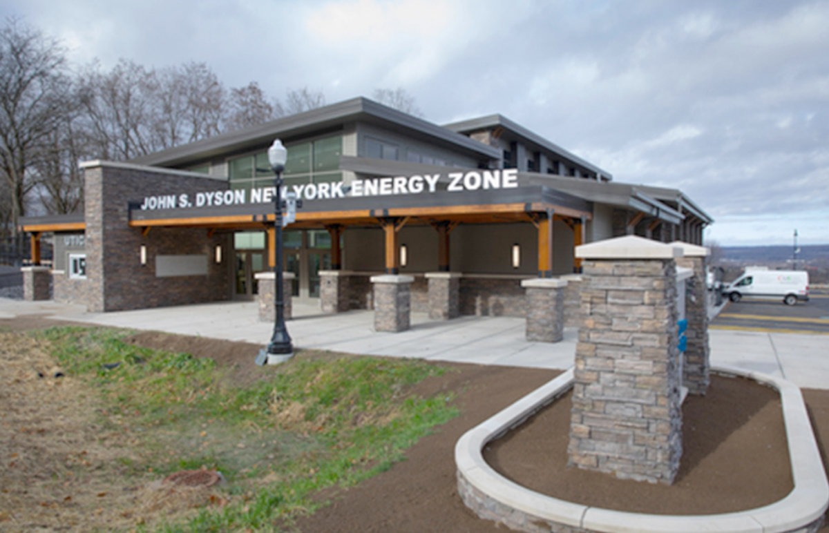 UNVEILED — The exterior of the new John S. Dyson New York Energy Zone at 35 Utica Zoo Way is shown during an unveiling on Friday.