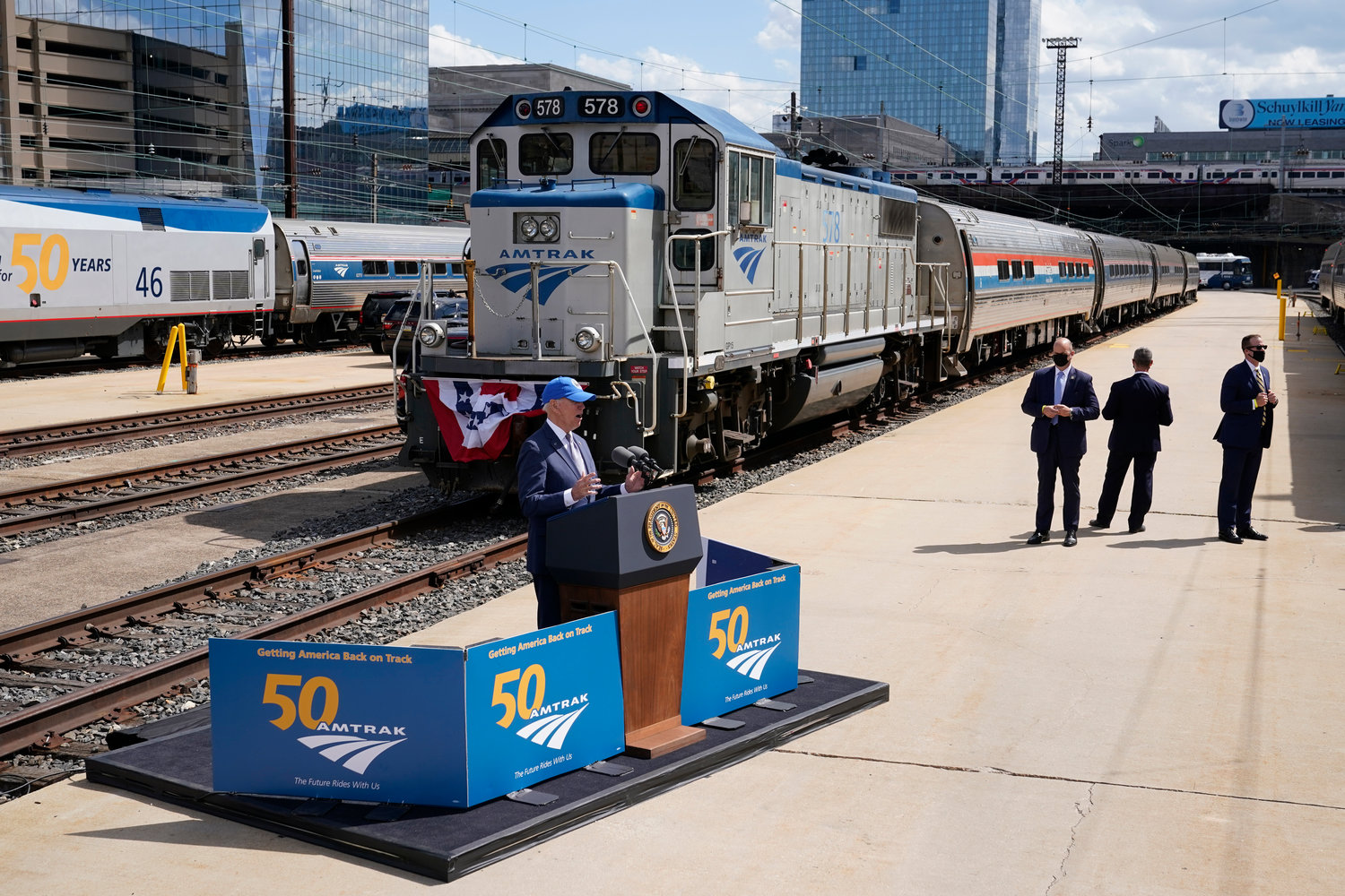 ALL ABOARD — President Joe Biden speaks during an event to mark Amtrak's 50th anniversary at 30th Street Station in Philadelphia Friday.