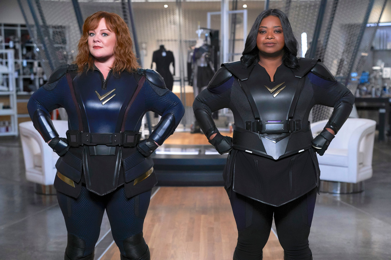"PRETTY HORRENDOUS — Melissa McCarthy, left, and Octavia Spencer in a scene from the comedy ""Thunder Force."""