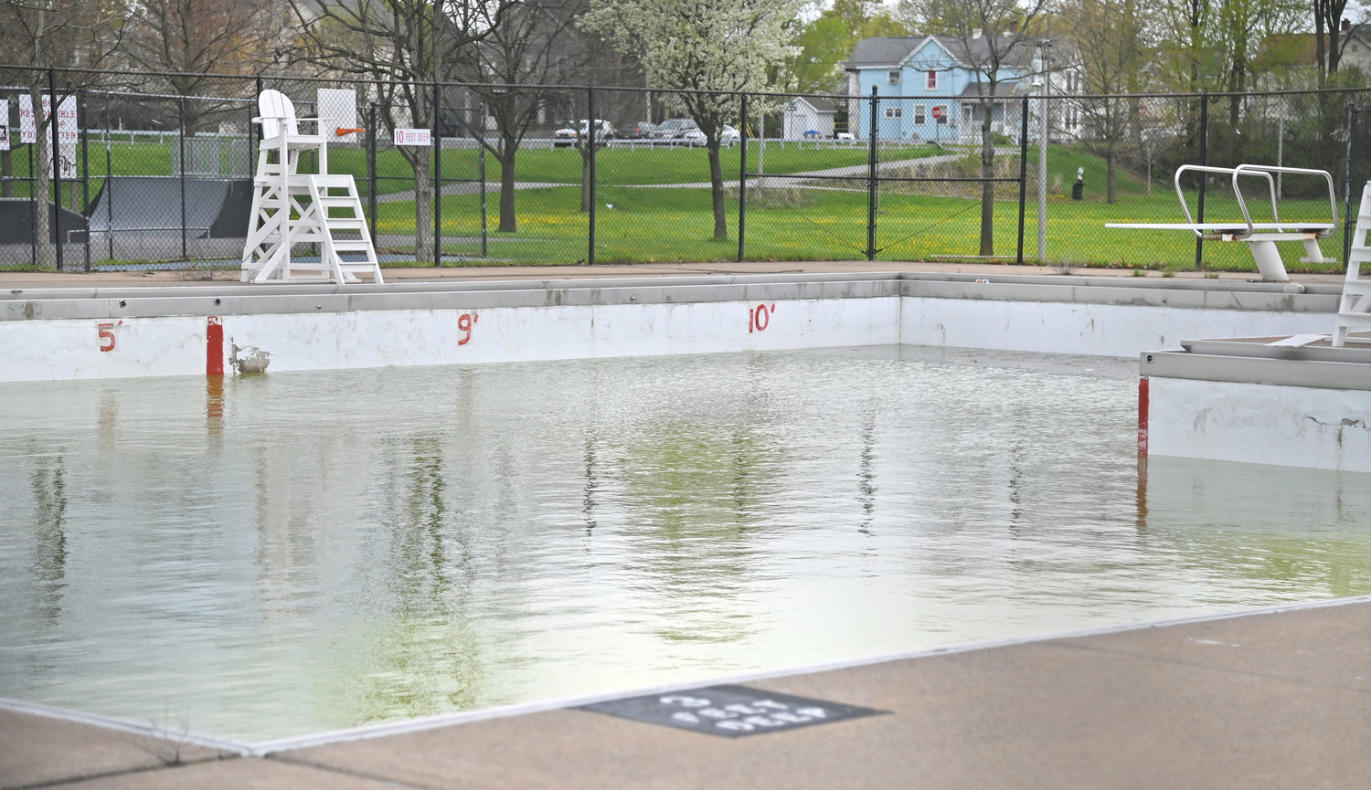 NOT YET READY TO DIVE INTO SUMMER — Tosti Pool at Pinti Field on Sixth Street is shown on Monday. City officials say they are keeping an eye on potential chlorine issues, but it is too soon to tell, what, if any, impact the issue may have. The city is also keeping an eye out on its lifeguarding crew. A popular certification program for local guards was unavailable this year, and officials are hoping that a full complement of lifeguards will still be available. The deadline for applications for summer jobs with the city is May 15.