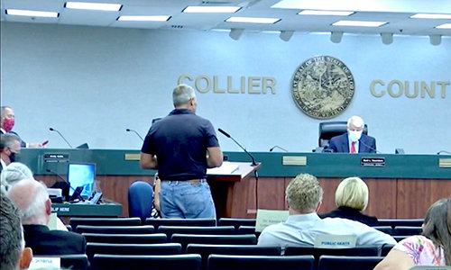 Submitted photo: Alfie Oakes, who has filed a lawsuit regarding the mask mandate, speaks to the Collier County Commissioners about ending the mandate.